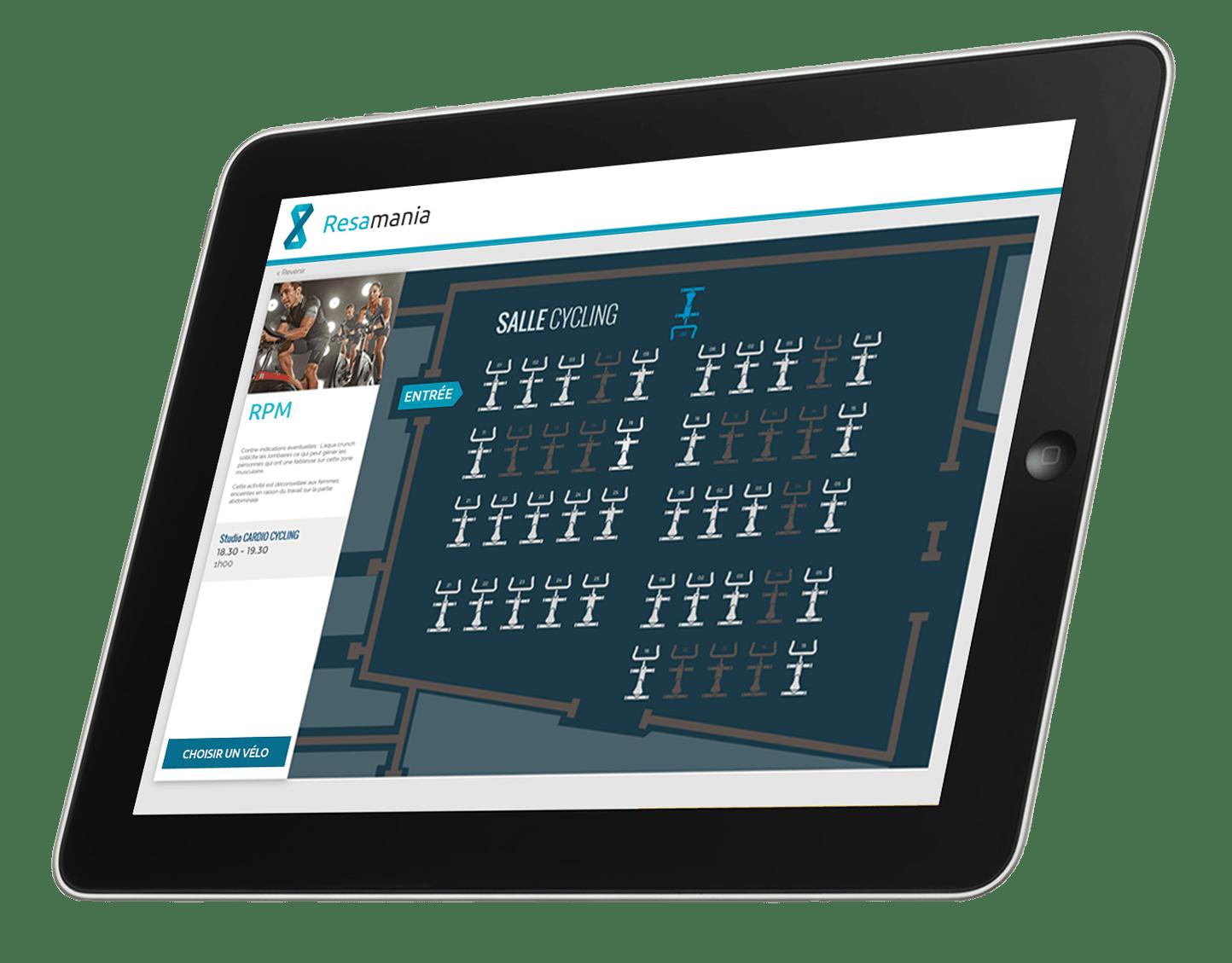 réservation biking logiciel gestion salle fitness  – tablette