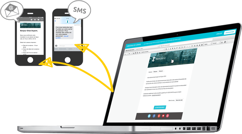 Smart messaging, resamania gestion de club de sport – logiciel
